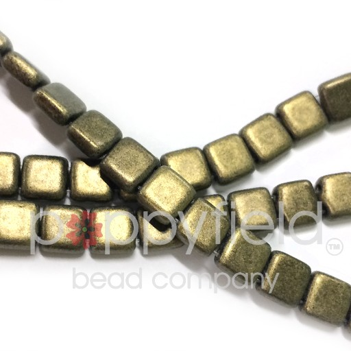 Czech 2 Holed Tile Beads, 6 mm, Metallic Suede Gold, 50 pcs