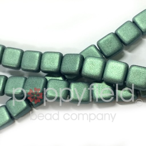 Czech 2 Holed Tile Beads, 6 mm, Metallic Suede Light Green, 50 pcs