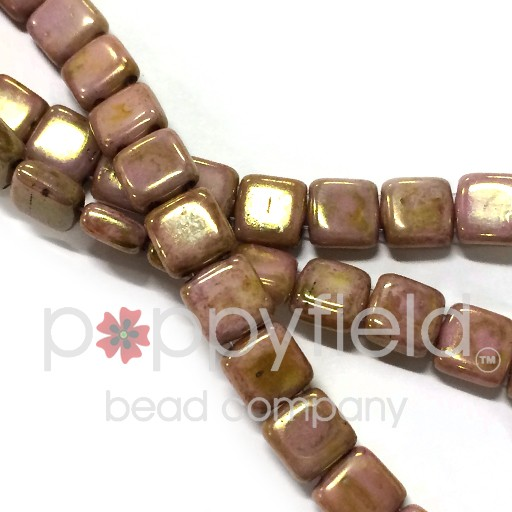 Czech 2 Holed Tile Beads, 6 mm, Luster Opaque Rose Gold Topaz, 50 pcs