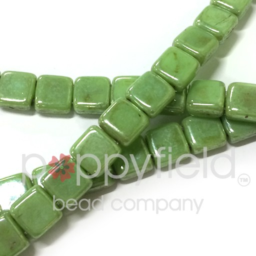 Czech 2 Holed Tile Beads, 6 mm, Honeydew Luster Picasso, 50 pcs