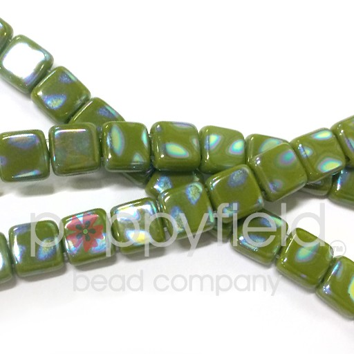 Czech 2 Holed Tile Beads, 6 mm, Peacock Opaque Olive, 50 pcs