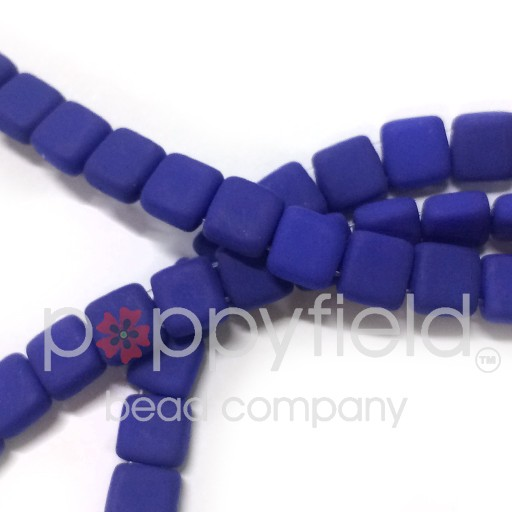 Czech 2 Holed Tile Beads, 6 mm, Neon Blue, 50 pcs
