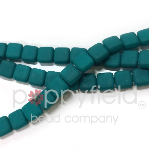 Czech 2 Holed Tile Beads, 6 mm, Neon Emerald, 50 pcs