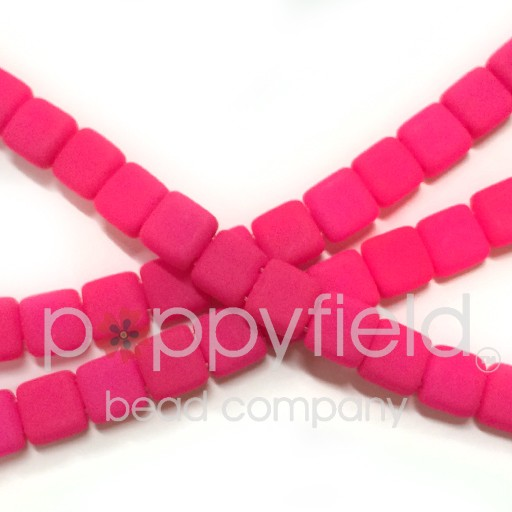 Czech 2 Holed Tile Beads, 6 mm, Neon Pink, 50 pcs
