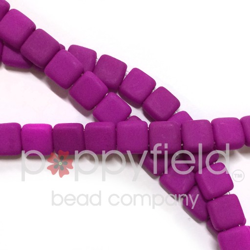 Czech 2 Holed Tile Beads, 6 mm, Neon Purple, 50 pcs