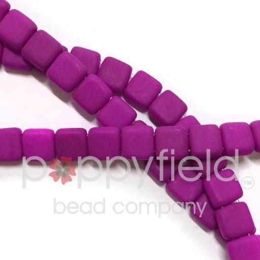 Czech 2 Holed Tile Beads, 6 mm, Neon Purple, 50 pcs