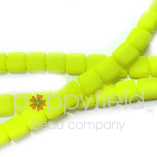 Czech 2 Holed Tile Beads, 6 mm, Neon Yellow, 50 pcs
