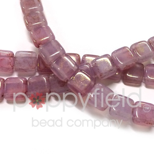 Czech 2 Holed Tile Beads, 6 mm, Pink Topaz Luster Milky Alexandrite, 50 pcs