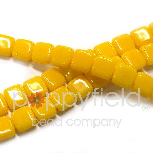 Czech 2 Holed Tile Beads, 6 mm,  Sunflower Yellow, 50 pcs