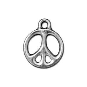 "5/8"" Peace Pendant, Rhodium Plated"