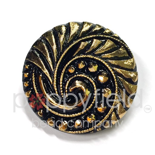 Czech Czech Button, 27 mm, Black Spiral with Gold