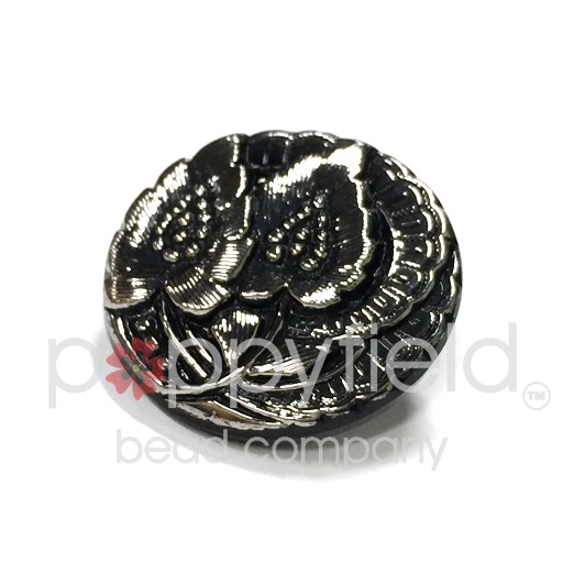 Czech Czech Button, 20 mm, Black Flower with Silver Finish