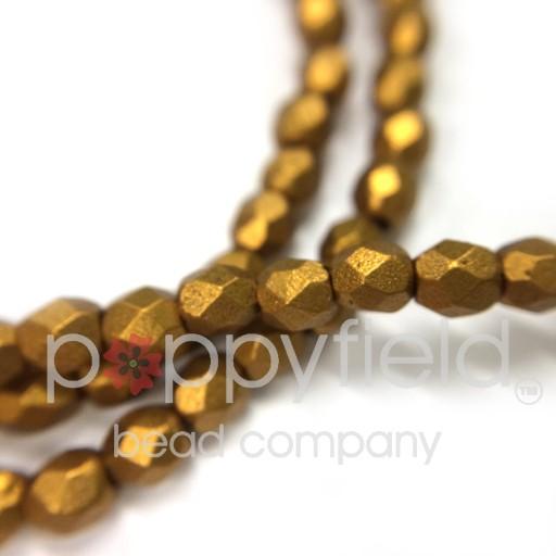 Czech Czech Fire Polish, 3mm, Matte Metallic Antique Gold, 50 pcs