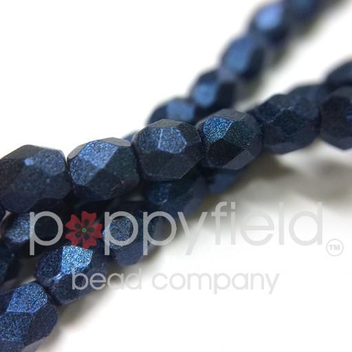 Czech Czech Fire Polish, 3mm, Metallic Suede Blue, 50 pcs