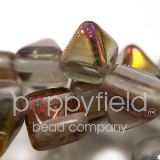 Czech 2-Hole Pyramid Stud Beads, 6mm, Crystal Sliperit, 25 Beads/Strand