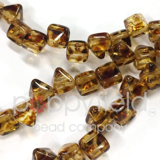Czech 2-Hole Pyramid Stud Beads, 6mm, Crystal Picasso, 25 Beads/Strand