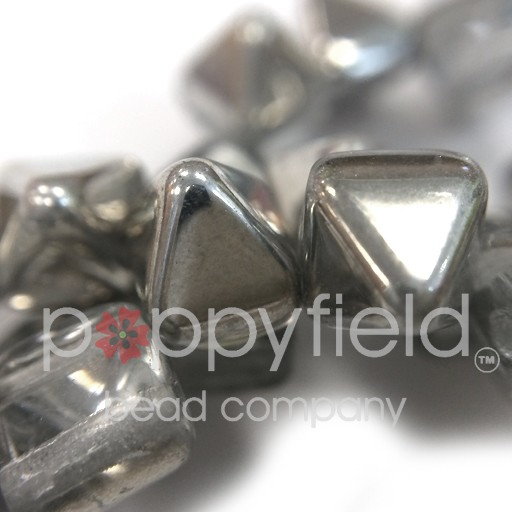Czech 2-Hole Pyramid Stud Beads, 6mm, Crystal Labrador, 25 Beads/Strand