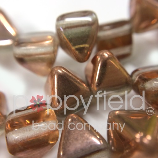 Czech 2-Hole Pyramid Stud Beads, 6mm, Crystal Gold Capri, 25 Beads/Strand