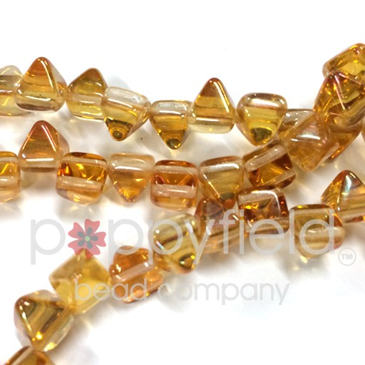 Czech 2-Hole Pyramid Stud Beads, 6mm, Crystal Apricot, 25 Beads/Strand