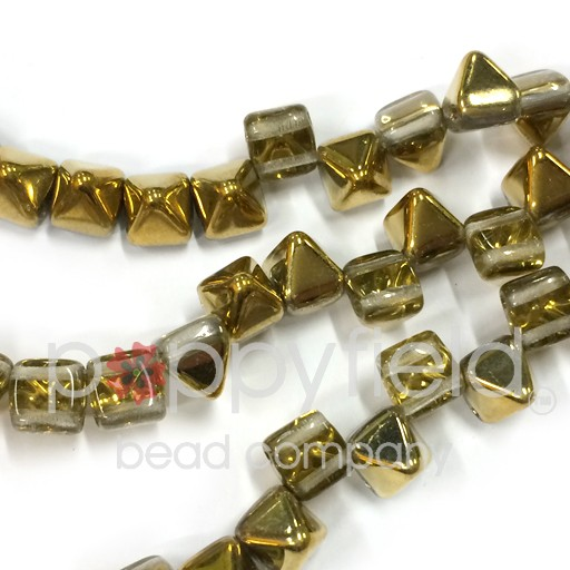 Czech 2-Hole Pyramid Stud Beads, 6mm, Crystal Amber, 25 Beads/Strand