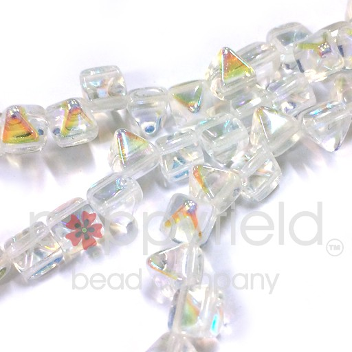Czech 2-Hole Pyramid Stud Beads, 6mm, Crystal AB, 25 Beads/Strand