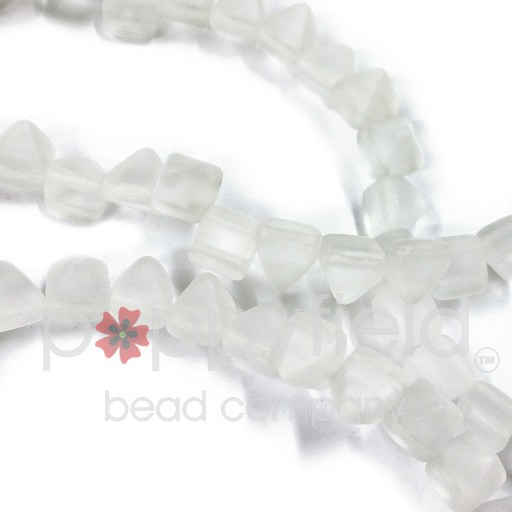 Czech 2-Hole Pyramid Stud Beads, 6mm, Crystal Matte, 25 Beads/Strand