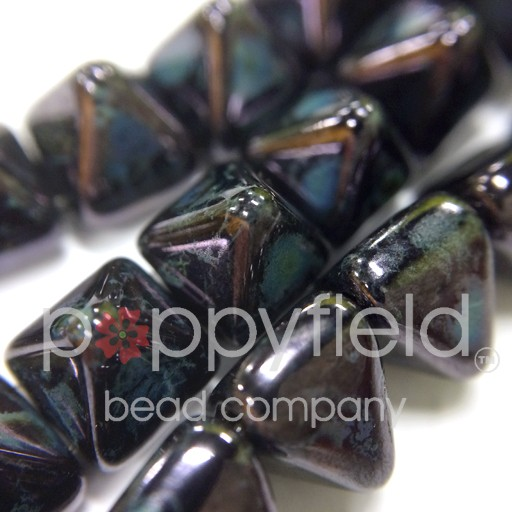 Czech 2-Hole Pyramid Stud Beads, 6mm, Jet Travertine Blue, 25 Beads/Strand