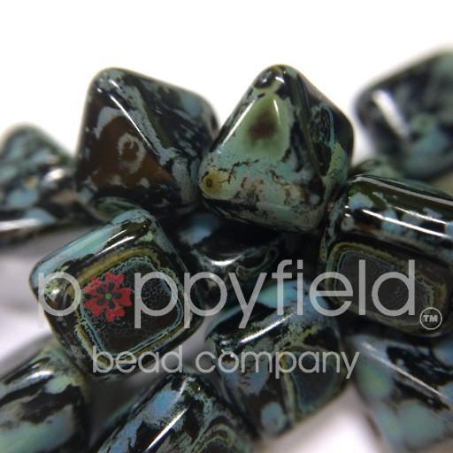 Czech 2-Hole Pyramid Stud Beads, 6mm, Jet Picasso, 25 Beads/Strand