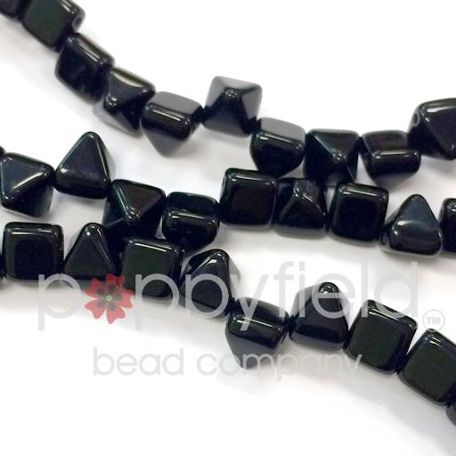 Czech 2-Hole Pyramid Stud Beads, 6mm, Jet, 25 Beads/Strand