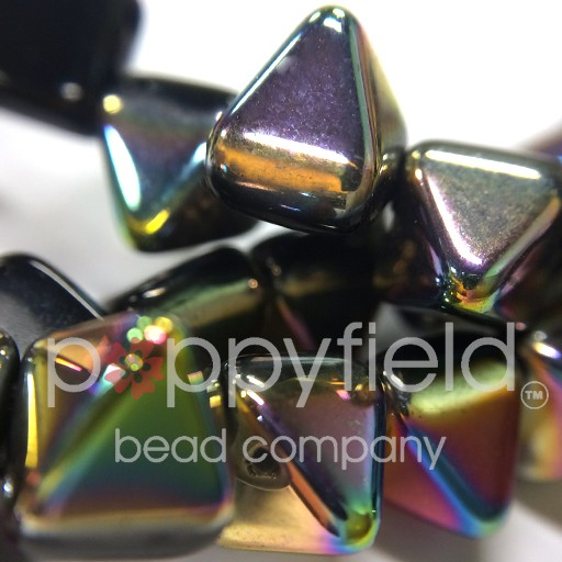 Czech 2-Hole Pyramid Stud Beads, 6mm, Jet Vitrail, 25 Beads/Strand