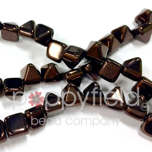 Czech 2-Hole Pyramid Stud Beads, 6mm, Jet Vega, 25 Beads/Strand