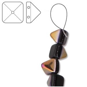 Czech 2-Hole Pyramid Stud Beads, 6mm, Jet Sliperit, 25 Beads/Strand