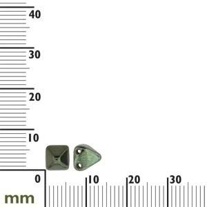 Czech 2-Hole Pyramid Stud Beads, 6mm, Jet Red Lustre, 25 Beads/Strand