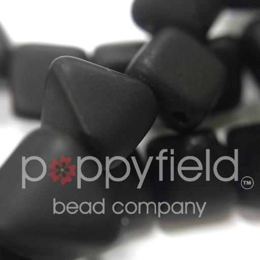 Czech 2-Hole Pyramid Stud Beads, 6mm, Jet Matte, 25 Beads/Strand