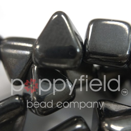 Czech 2-Hole Pyramid Stud Beads, 6mm, Jet Full Chrome, 25 Beads/Strand