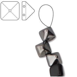 Czech 2-Hole Pyramid Stud Beads, 6mm, Jet Chrome, 25 Beads/Strand