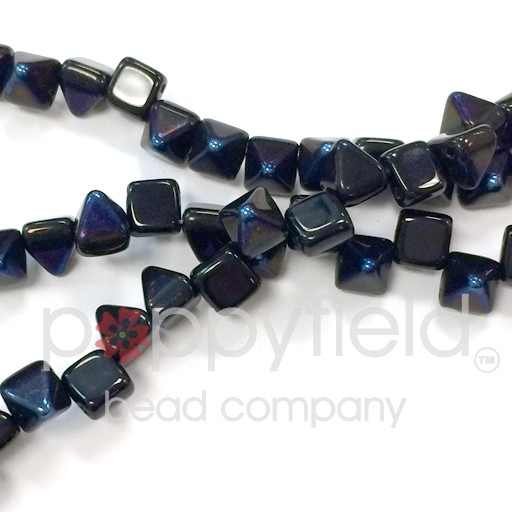 Czech 2-Hole Pyramid Stud Beads, 6mm, Jet Azuro, 25 Beads/Strand