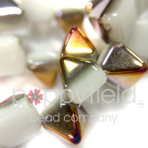 Czech 2-Hole Pyramid Stud Beads, 6mm, White Sliperit, 25 Beads/Strand