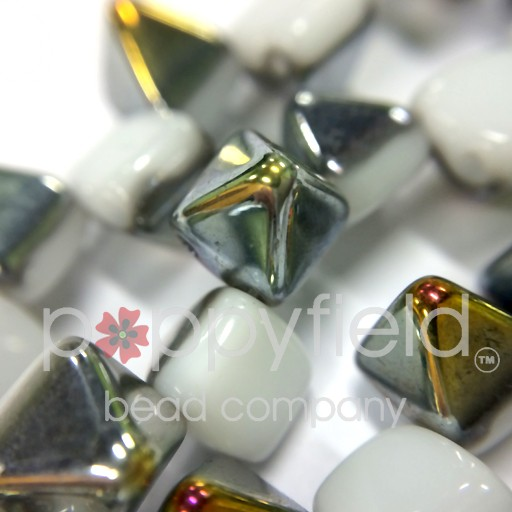 Czech 2-Hole Pyramid Stud Beads, 6mm, White Marea, 25 Beads/Strand