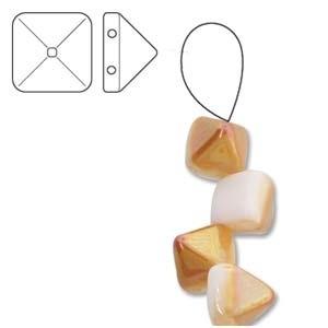 Czech 2-Hole Pyramid Stud Beads, 6mm, White Apricot, 25 Beads/Strand