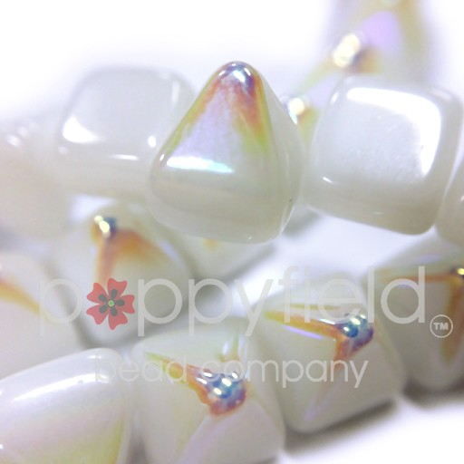 Czech 2-Hole Pyramid Stud Beads, 6mm, White AB, 25 Beads/Strand
