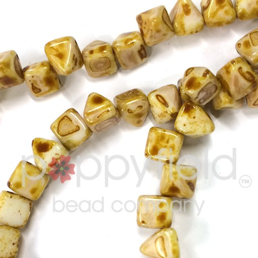 Czech 2-Hole Pyramid Stud Beads, 6mm, White Picasso, 25 Beads/Strand