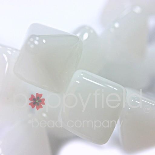 Czech 2-Hole Pyramid Stud Beads, 6mm, White, 25 Beads/Strand
