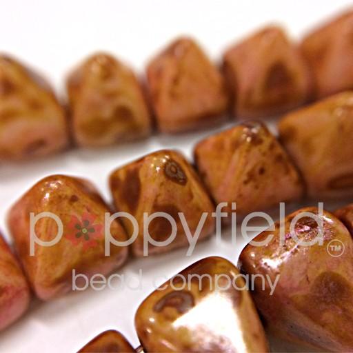 Czech 2-Hole Pyramid Stud Beads, 6mm, White Travertine Red, 25 Beads/Strand
