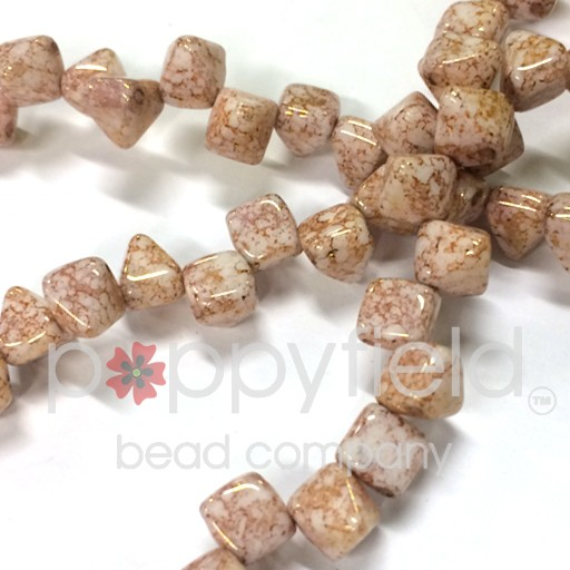 Czech 2-Hole Pyramid Stud Beads, 6mm, White Teracota Red, 25 Beads/Strand