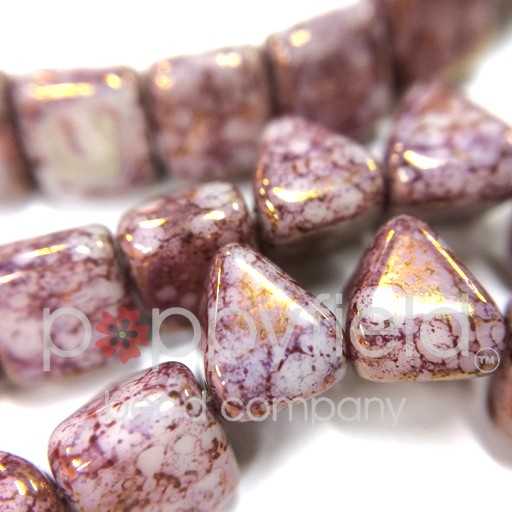 Czech 2-Hole Pyramid Stud Beads, 6mm, White Teracota Purple, 25 Beads/Strand