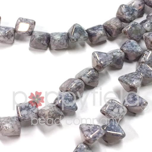 Czech 2-Hole Pyramid Stud Beads, 6mm, White Teracota Blue, 25 Beads/Strand