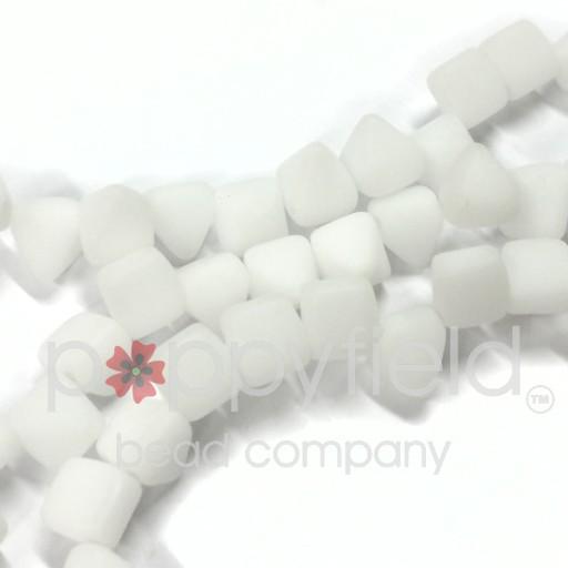 Czech 2-Hole Pyramid Stud Beads, 6mm, White Matte, 25 Beads/Strand