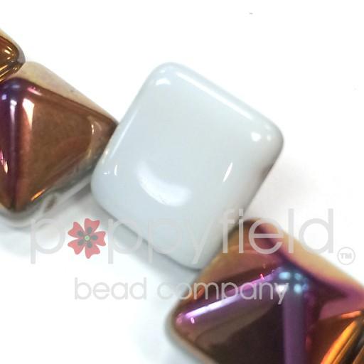 Czech 2-Hole Pyramid Stud Beads, 12mm, White Sliperit, 25 Beads/Strand