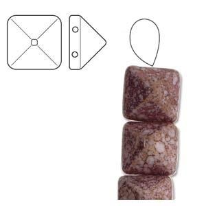 Czech 2-Hole Pyramid Stud Beads, 12mm, White Teracota Purple, 25 Beads/Strand